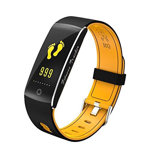 HAMOII IP68Wasserdichten Sports Schrittzähler, Cool Unisex Dual Color Smart braceletwith Herzfrequenz/Blut Oxygen/Sleep Erkennung und Alarmierung Informationen Funktion, Gelb -
