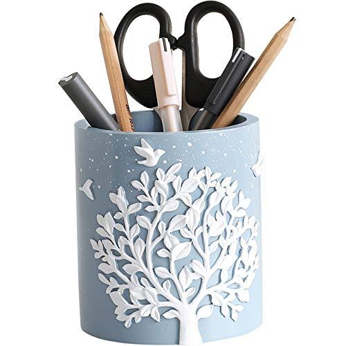 Harz Quadrat/runde Stifthalter Bleistift Topf mit Baum und Vogel Dekoration, einfache Desktop Stationery Organizer, Make-up Aufbewahrungsbox Sukkulenten Blumentopf, kreative Geschenk -