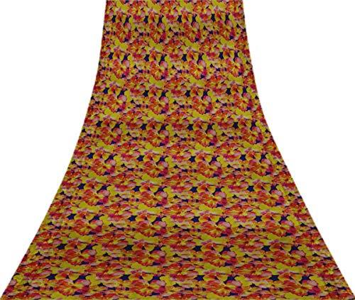 Svasti Blumenblumenweinlese-Silk Sari Royal Blue Schneiderei Refurbished Craft Fabric Saree 1 Yard Gebraucht Blue Silk Sari