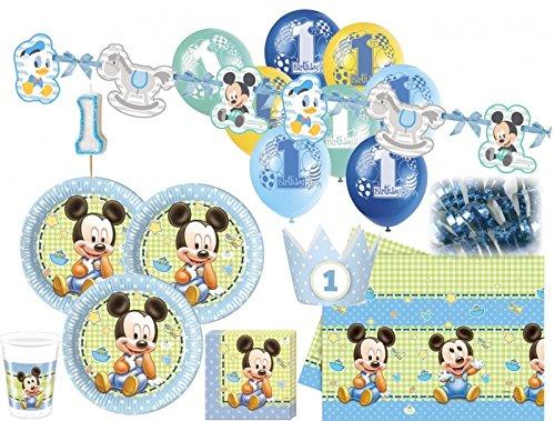 Disney Mickey Luftballons (85 Teile Disney Baby Micky zum Ersten Geburtstag Party Deko Set 16 Personen 1.)