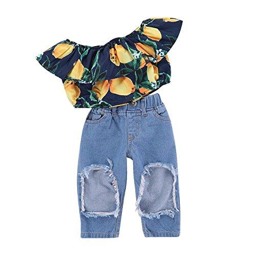 Vovotrade® 2Pcs Toddler Bambini Neonati Abbigliamento Set Lemon Print Top + Hole Jeans Pantaloni Outfit