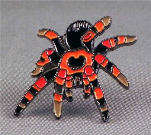 metal-enamel-pin-badge-brooch-striped-tarantula-spider-black-red