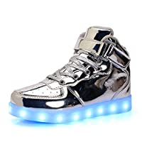 Ali-tone Unisex Kids USB Charging LED [11 Colors] Light Shoes High-Top Outdoor Sport Flashing Fashion Breathable Gymnastics Sneaker Birthday Gift for Boys Girls Silver