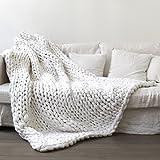 Strickdecke, Essort handgefertigt gehäkelter Strick Decke, warm Winter Sofa Bezug Kuscheldecke, dick Gewinde Decke Steppdecke für Bett, Wohnzimmer, Yoga, Teppich Decor, weiß, 100*120cm