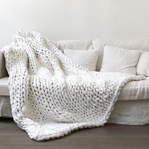 Chunky de punto manta, essort hecho a mano ganchillo de punto manta, cálido invierno manta de sofá manta, de grosor hilo de punto colcha para cama, sala de estar, Yoga, alfombra Decor, Blanco, 100*120cm