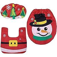 XGPT Muñeco De Nieve De Santa Claus Tapa del Asiento De Inodoro Y Alfombra Set para Decoración De Navidad De Baño,Snowman