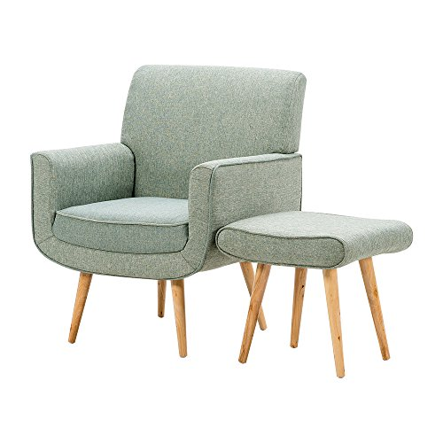 Feifeiyo 1x Nordic Retro Fabric Occasional Accent Chair with Footstool Comfy Reading Lounge Chair for Bedroom Living Room (Green)