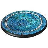 Simandra Mosaikschale Tonschale Glasschale Dekoschale Mosaik Kunsthandwerk Glassteine Deko Rund Spiegel XXL Color Blau