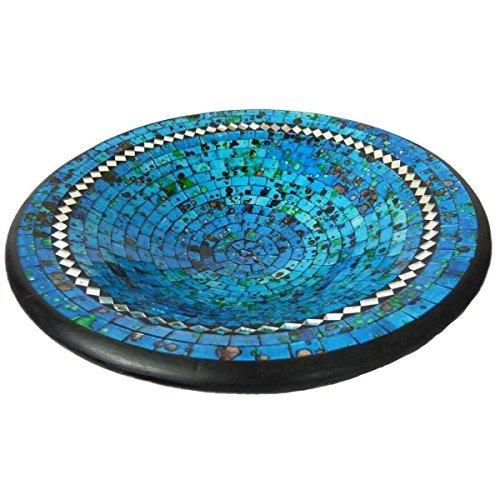 Simandra Mosaikschale Tonschale Glasschale Dekoschale Mosaik Kunsthandwerk Glassteine Deko rund Spiegel XXL Color Blau -