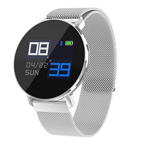 WETERS Fitness-Tracker Aktivität Tracker Uhr Pulsmesser Wasserdicht Eingehenden Anruf Bluetooth Schrittzähler Sport Armband,Silvergray