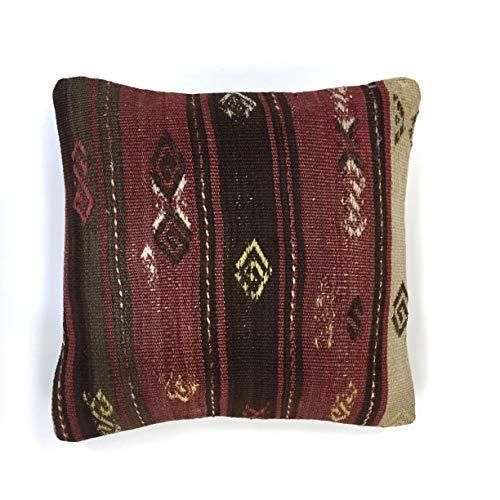 Türkischen Kelim Kissen (KilimShop Handgearbeiteter Kelim Kissenbezug, Kelim Kissen 40x40 cm, Türkischer, Marokkanischer Stil)