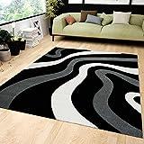 VIMODA Teppich Modern Kurzflor Wohnzimmer Schwarz Grau Wellen Muster Flauschig Weich Konturenschnitt 160x230 cm