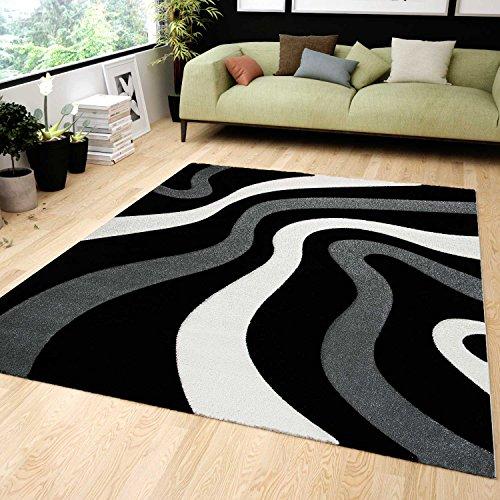Vimoda Salón Alfombra Diseño Negro Gris con Ondas patrón Friseé Zambaiti PHc Suave, Medidas: 80x 150cm