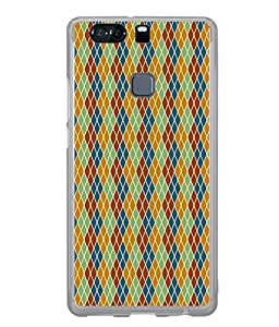 PrintVisa Designer Back Case Cover for Huawei P9 Plus (crossed multi colored simple pattern)