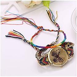 S&E Women's National Style Mini Butterfly Shape Dial Plate Knitting Strap Wrist Watch