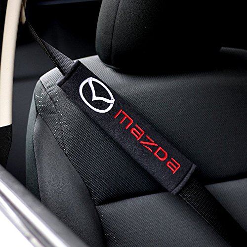2x Protezioni Comfort per Cintura di Sicurezza Auto, Viaggio Ammortizzatori Mazda logo