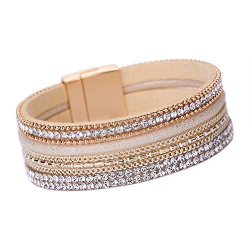 Männer Gold-seil-kette (Armband Damen Armbänder DAY.LIN Frauen Böhmisches Armband geflochten geflochten Handmade Wrap Manschette Magnetverschluss (Gold))