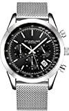 Stuhrling Original - Montre chronographe pour Homme, Bracelet en Acier Inoxydable et résistance à l'eau jusqu'à 100 M. (Black)