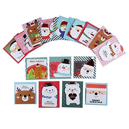 Aolvo Merry Weihnachten Grußkarten, Neue Jahr Grußkarten, Christmas Ornaments Grußkarten Original Design Cute 16Karten mit Umschlägen