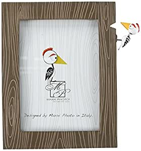 "Maxxi Designs Photo Frame with Easel Back, 5 x 7"", Polyresin Brown Woodpecker Fantasy"