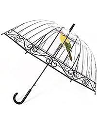 Hombres Mujeres Paraguas Transparente Paraguas Creativo Mango Largo Apollo Bird En La Jaula De Plástico Transparente