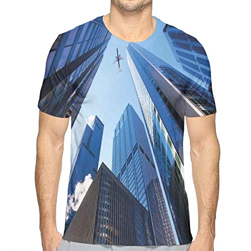 3D Printed T Shirts,Looking Up at Chicagos Skyscrapers In Financial District American City Picture L