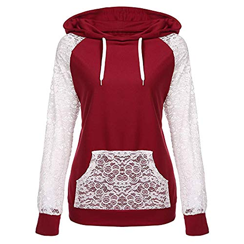TWBB Damen Hoodie Mantel,Winter Parka Steppjacke Pullover Mit Tasche Kapuzenpullover Sweatshirt Coat Langarm-Shirt (Mantel Winter Hoodie)