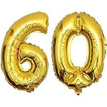 DEKOREX® Globo papel brillante Decoración del globo del cumpleaños hoja 80cm oro número 60