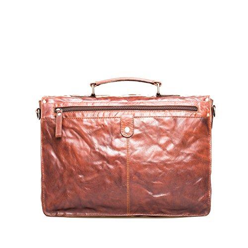 Montana Leather Laptop Bag - Borsa esclusiva con scomparto imbottito Notebook e molte caratteristiche in pelle 100% di alta qualità Brandy