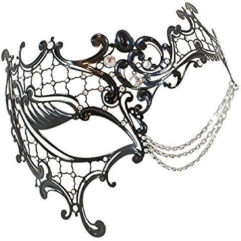 La Fucina dei Miracoli, Maschera in metallo nero con strass Swarovski® originali,