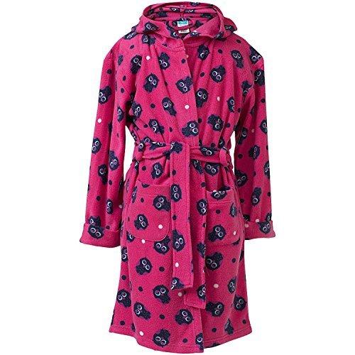 Insignia Mädchen Kinder Bademantel Fleece Robe gewickelt Bademantel Tiere weich mit Kapuze - Hot Pink Eule, 9-10 (Robe Rosa Fleece)