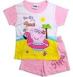 Peppa Wutz Pyjama Kollektion 2018 Schlafanzug 92 98 104 110 116 122 128 Shorty Mädchen Kurz Neu Peppa Pig (Weiß-Fuchsia, 110)