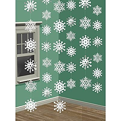 6 X Window Glitter Snowflake String Hanging Christmas Tree Decoration