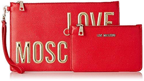 Love Moschino JC4082, Clutch Femmes, 1x18x28 cm Rouge (red)
