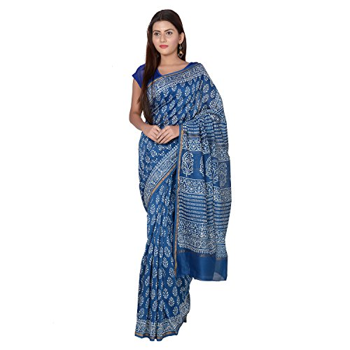 Panvi Chanderi Silk Cotton Saree With Blouse Piece (P-01_Hand Block Printed Indigo...