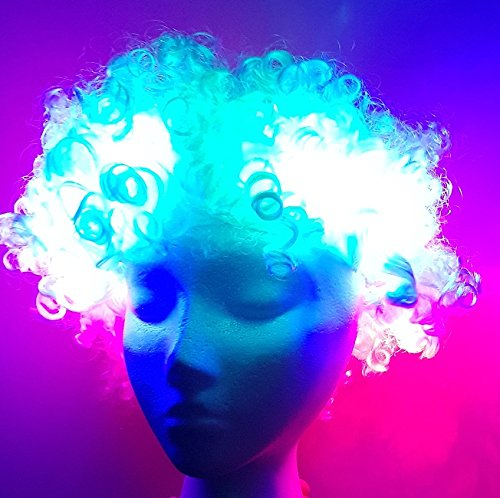 Unbekannt LED Leucht Perücke Disco Afro Weiss mit 3 Leuchten LED-Perücke Light up Wig (Up Perücke Light)