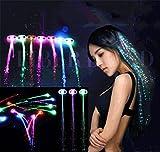 Demarkt Leuchtende Zöpfe LED Zopf kreative Haarsträhnen Glühwürmchen Rainbow Party Deko Haarschmuck Halloween Deko Fasching Deko (10PCS)