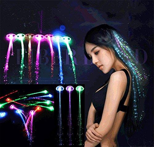 öpfe LED Zopf kreative Haarsträhnen Glühwürmchen Rainbow Party Deko Haarschmuck Halloween Deko Fasching Deko (10PCS) (Rote Weiße Und Blaue Haare)