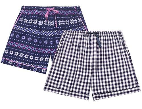 Noble Mount Damen Pyjamashorts aus 100% Baumwolleflannel - Nordisch-Gingham Blau - XL 100 Bl Mount
