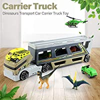 Leepesx Dinosaurs Transport Car Animal Carrier Truck Toy with Dinosaur Toys Matchbox Car Helicopter for kids Toy