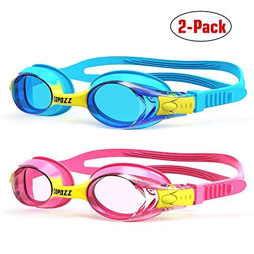 COPOZZ Kinder Schwimmbrille, Swim Schwimmbrille für Kinder Junior Jungen Mädchen (Blau+Rosa)