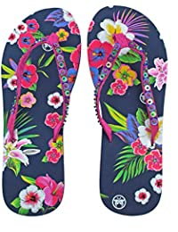 Ladies Urban Beach Trondra Leather Summer Flip Flops Brown