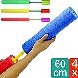 4 Wasserspritze Poolkanonen XXL 60cm I Große Reichweite bis 7 Meter I Wasserspielzeug für Garten / Pool