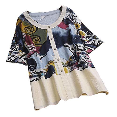 Tohole Damen Sommerkleid Bohemian Tunika T-Shirt Abend Halbarm runder Ausschnitt aus Baumwolle mit O-Ausschnitt Ultra Damen Bluse und Kurzen Raglan-Ärmeln (Blau,3XL)