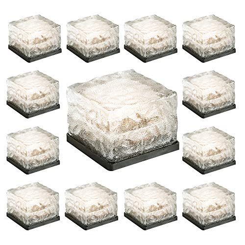 Licht-kristall-glas (Garden mile Solar Betrieben Eiswürfel LED lichter IP67 Wasserdicht Glas Kristall Ziegel Stein Nachtlampe für Garten Hof Gehweg Terrasse Pool Teich Outdoor Dekoration)