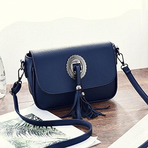 HQYSS Damen-handtaschen PU-lederne süße Dame Schulter-Kurier-Beutel-feste Farben-beiläufige frische geprägte Troddeln verzierte Beutel deep blue