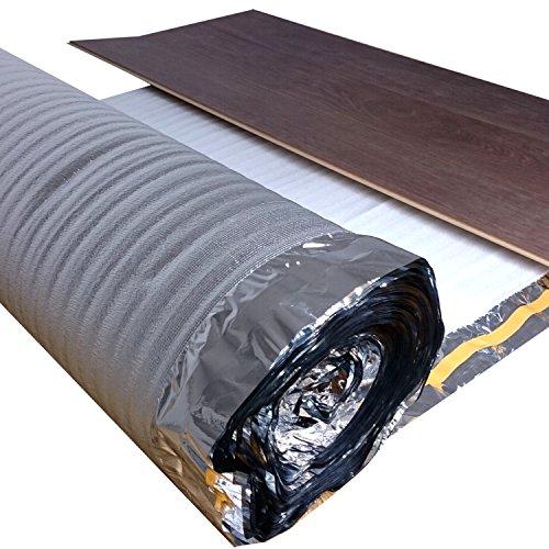 25 m² | uficell Trittschalldämmung ALU PLUS 3 mm Stark | Akustik Tritt- und Gehschalldämmung für Laminat und Parkett - Dichte: 25 kg/m³ | Sie kaufen 1 Rolle mit 25 m² (Stärke: 3 mm)