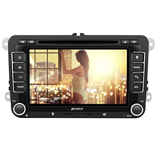 Pumpkin Autoradio DVD Player für VW Golf Polo Passat mit Navi Unterstützt Bluetooth USB CD SD Aux Rückfahrkamera Lenkradsbedienung 2 Din 7 Zoll Bildschirm