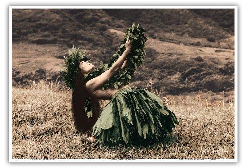Pacifica Island Art Angebot An Pele - Hawaiisch Hula-Tänzerin von Alan Houghton - hawaiianischer Kunstdruck - 33cm x 48cm