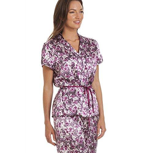 Camille manches courtes avec ceinture en satin cerise pyjama imprimé floral Violet